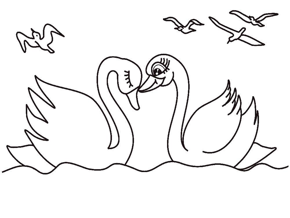 картинки лебедь раскраски рассказам
