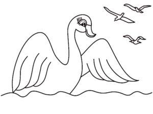 Лебедь картинки раскраски (8)