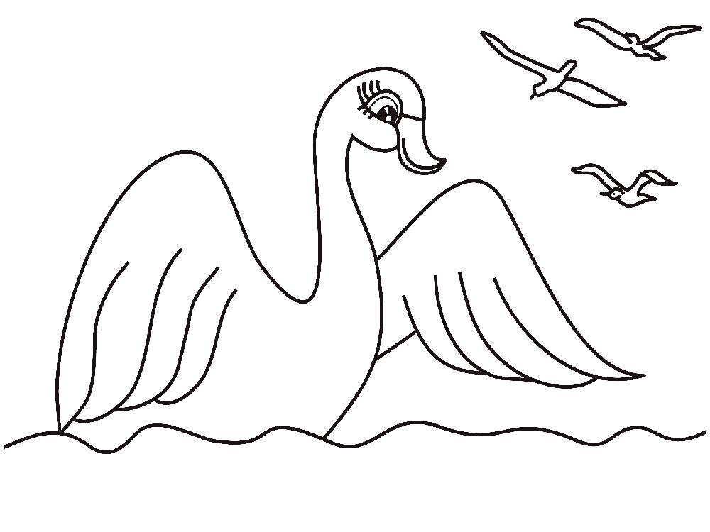 картинки лебедь раскраски сам