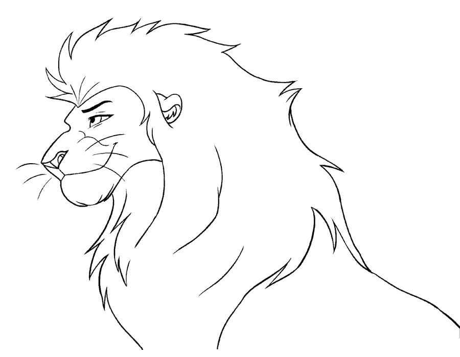 Картинки льва черно белые нарисованные легкие