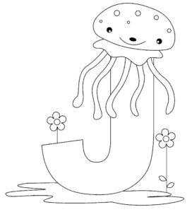Медуза картинки раскраски (16)