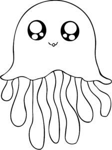 Медуза картинки раскраски (38)