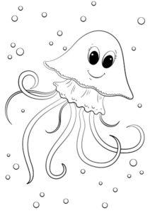 Медуза картинки раскраски (8)