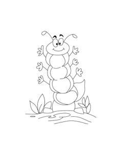Насекомые гусеница картинки раскраски (32)