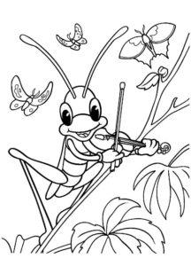 Насекомые кузнечик картинки раскраски (2)