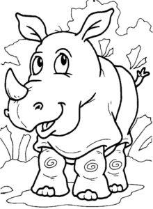 Носорог картинки раскраски (27)