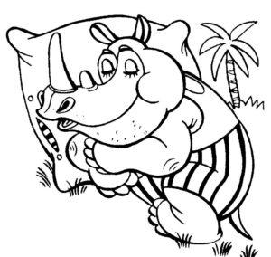 Носорог картинки раскраски (29)