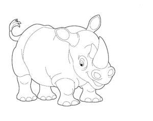 Носорог картинки раскраски (30)