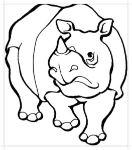 Носорог картинки раскраски (45)
