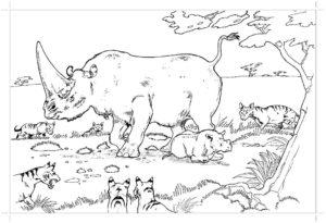 Носорог картинки раскраски (46)