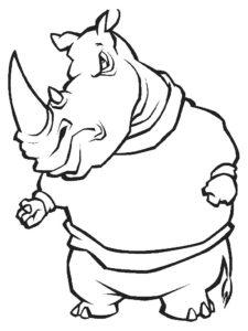 Носорог картинки раскраски (48)