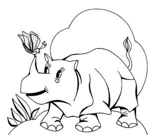 Носорог картинки раскраски (54)