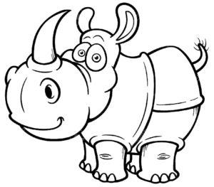 Носорог картинки раскраски (6)