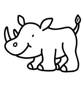 Носорог картинки раскраски (9)