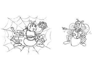 Паучки и пауки картинки раскраски (30)