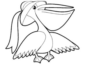 Пеликан картинки раскраски (2)
