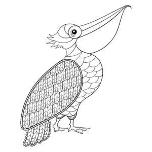 Пеликан картинки раскраски (37)