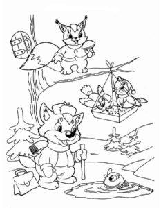 Птицы зимой картинки раскраски (2)