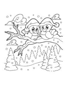 Птицы зимой картинки раскраски (6)