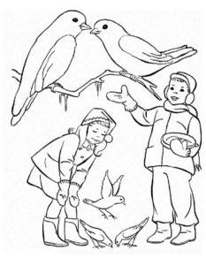 Птицы зимой картинки раскраски (7)