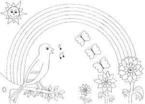 Птицы соловей картинки раскраски (10)