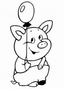Свинья картинки раскраски (13)