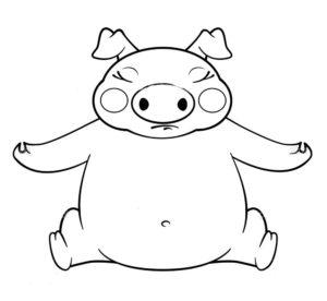 Свинья картинки раскраски (18)