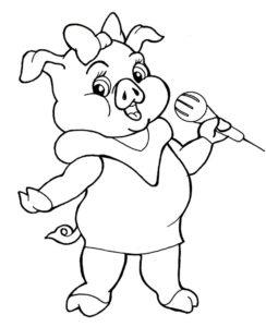 Свинья картинки раскраски (23)