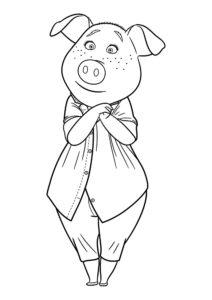 Свинья картинки раскраски (50)