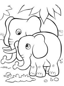 Слон картинки раскраски (16)