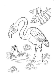 Фламинго картинки раскраски (11)