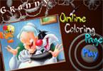 Бабушка  онлайн раскраска