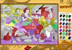 Белоснежка с гномами онлайн раскраска