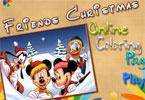 Друзья Рождество  онлайн раскраска