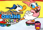 Катание на коньках Дональд   онлайн раскраска