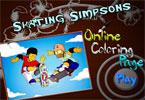 Катание на коньках Симпсоны онлайн раскраска