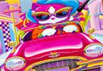 Кошка в машине  онлайн раскраска