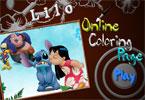 Лило и Стич  онлайн раскраска