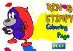 Рен и Стимпи  онлайн раскраска