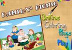 Семейный пикник   онлайн раскраска
