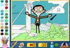 Счастливый Мистер Бин онлайн раскраска