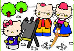 Хэллоу Китти в саду онлайн раскраска