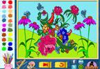 Цветы  онлайн раскраска