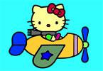 Хэллоу Китти Пилот онлайн раскраска