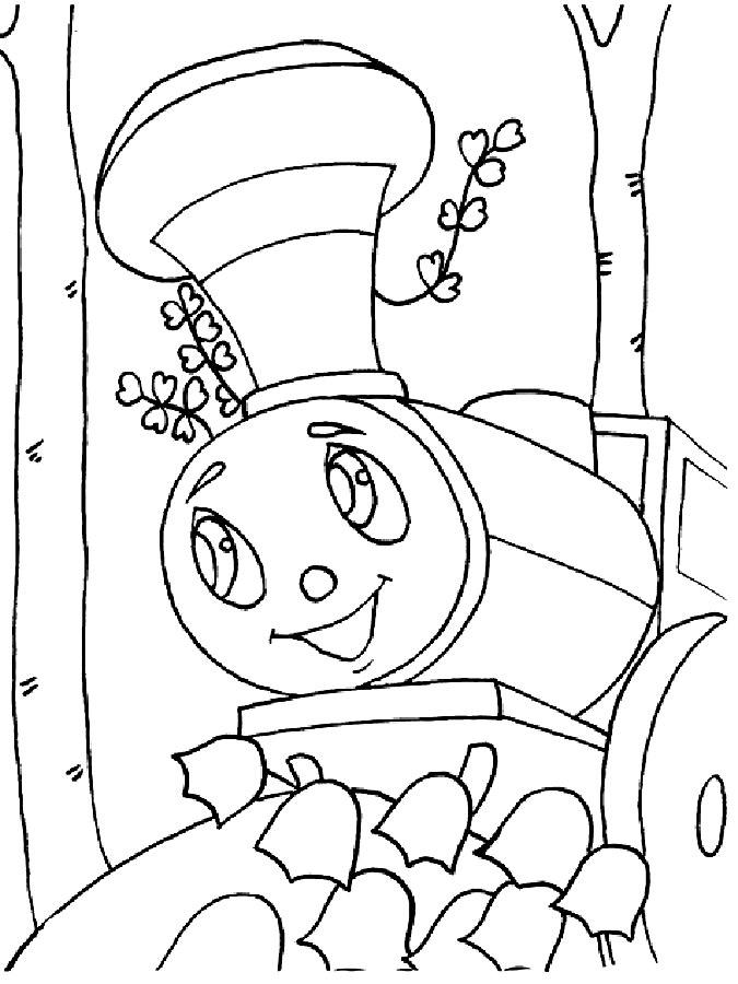 Паровозик из Ромашково картинки раскраски 2