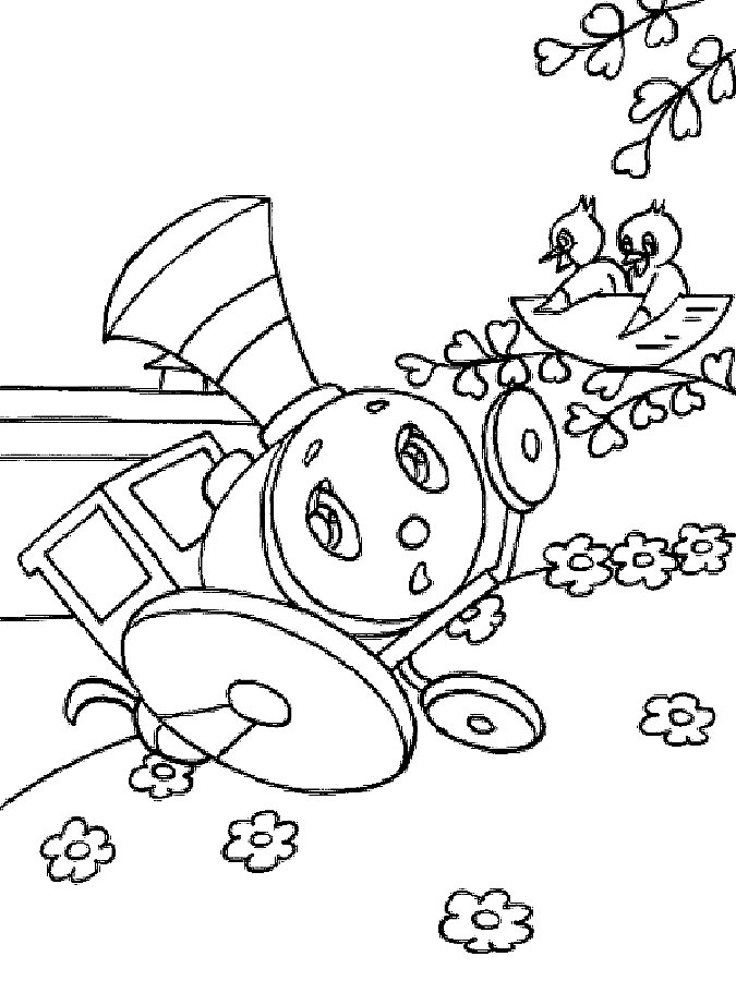 Паровозик из Ромашково картинки раскраски 3