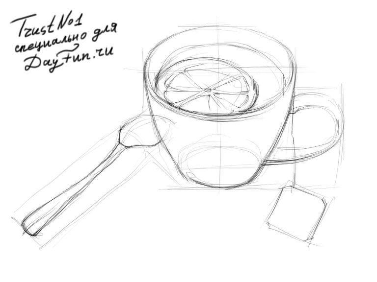 Как нарисовать чашку чая